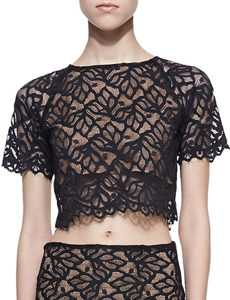 For Love & Lemons Lace Keyhole Crop Top in Black - Avenue K