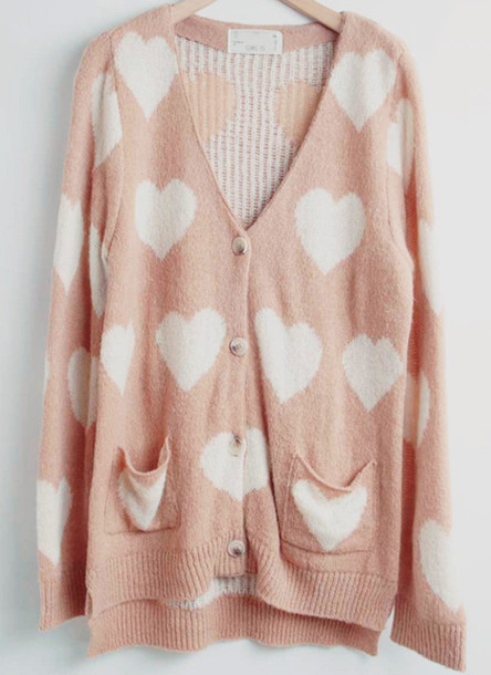 Sweater: heart, heart, pink, white, knit, hip, fashion, winter ...