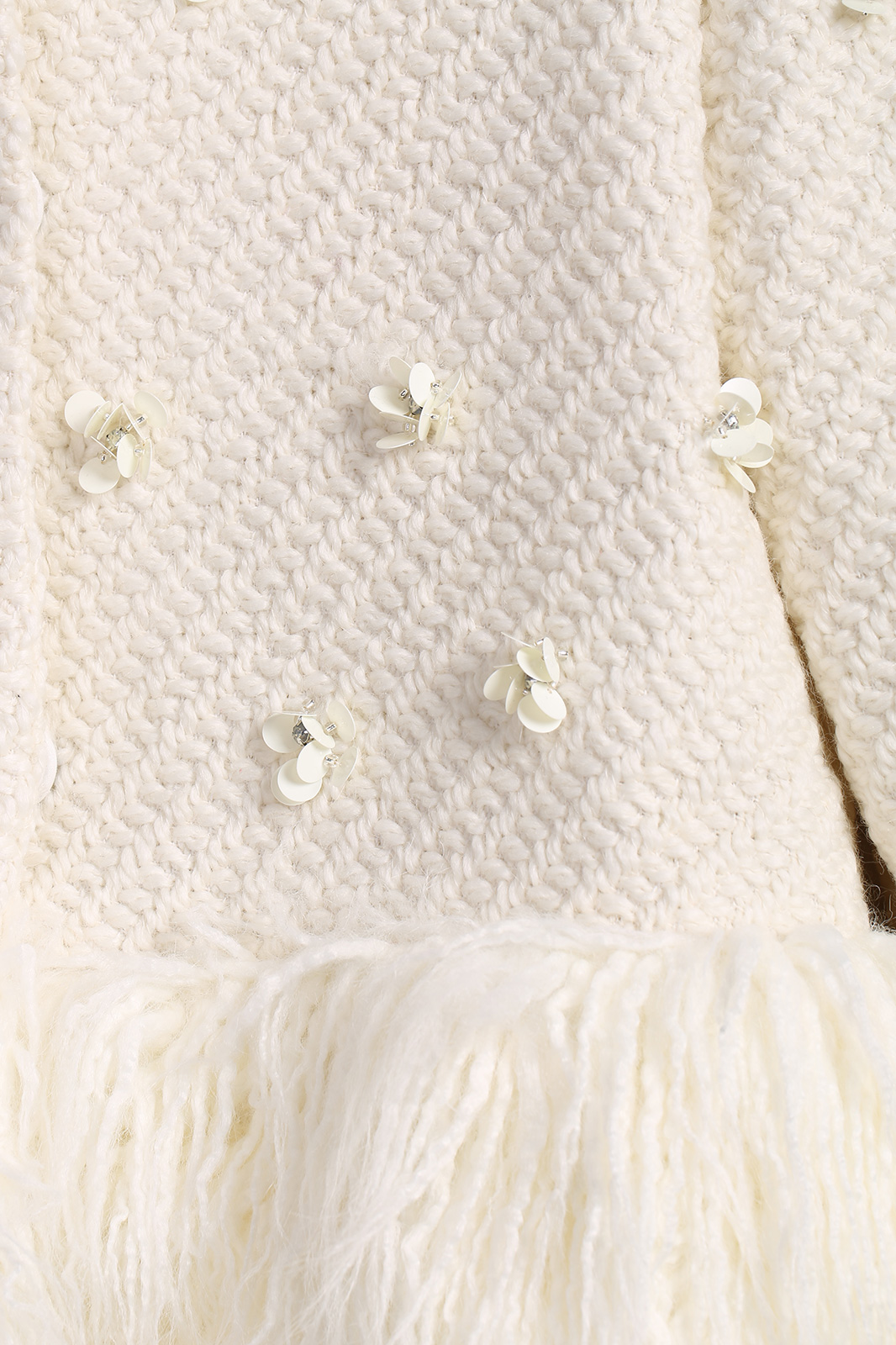 White long sleeve applique faux fur outerwear