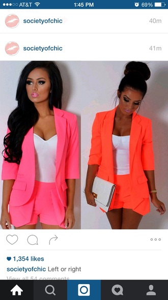 jacket neon pink shorts summer outfits
