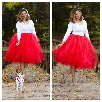skirt ball gown tutu skirt 2016 tutu tulle prom skirt adult women tutu skirt winter warm tutu skirt red tulle tutu skirt plua size tutu skirt formal party evening tutu skirt in_marry