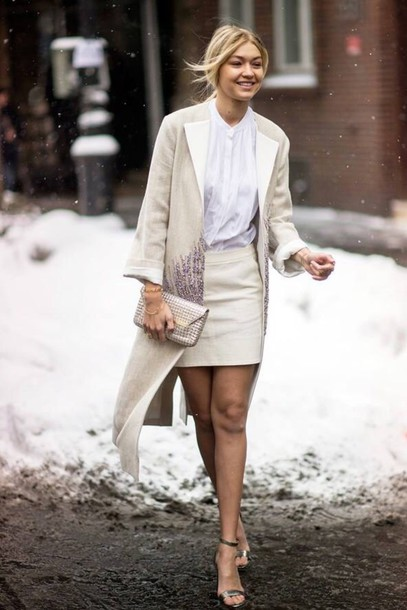 dress coat gigi hadid beige