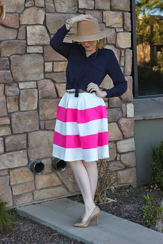 fashion flirtation blogger blouse belt jewels midi skirt striped skirt hat stilettos camel