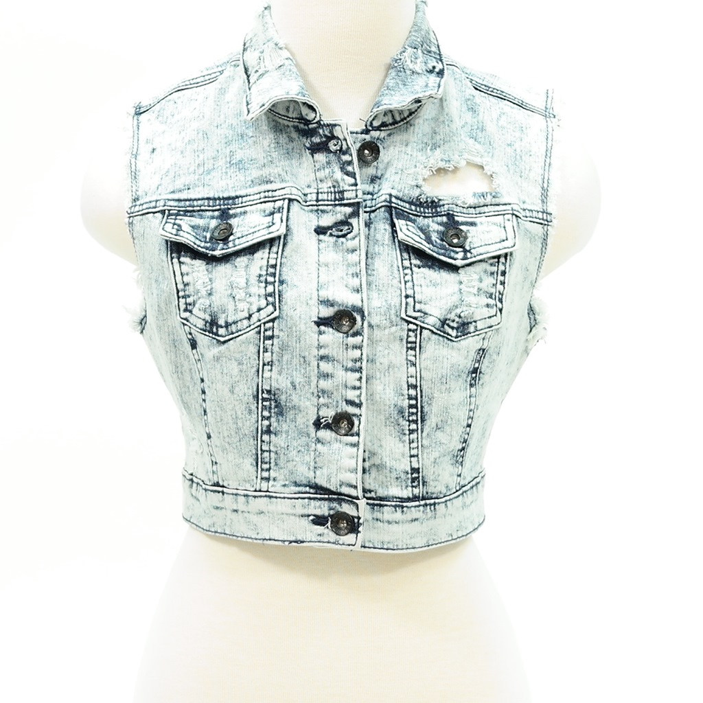 Distressed acid wash denim crop jean vest – Pinkracks