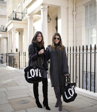 bag tumblr black bag tote bag dress midi dress knit knitwear knitted dress sweater dress boots black boots grey boots sunglasses jacket black jacket