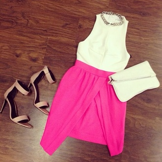 dress white dress summer outfits shoes pink white cute pink dress front open cut open front crew neck dress