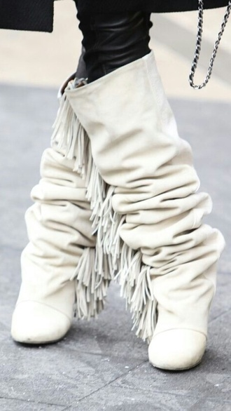 fashion fringe shoes white shoes