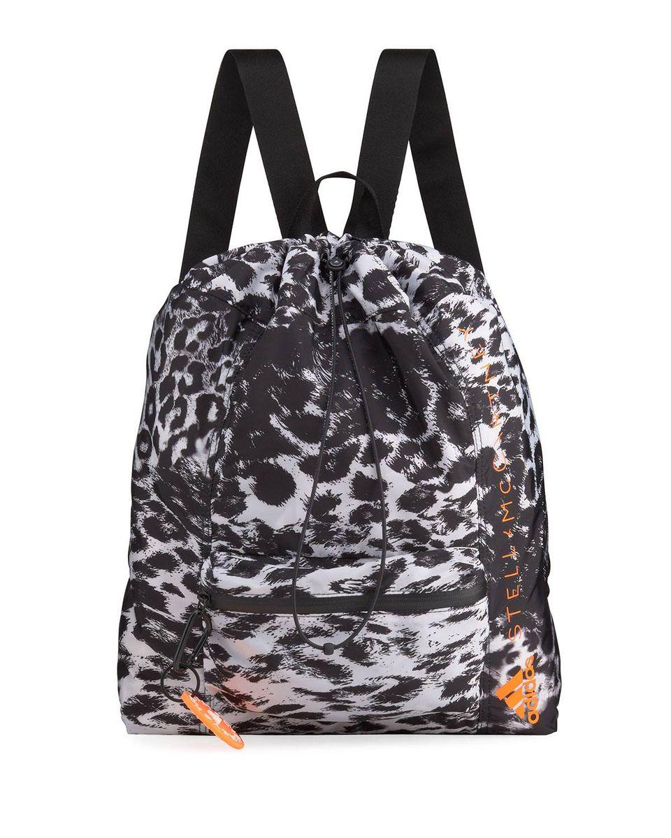 Leopard-Print Drawstring Gym Backpack