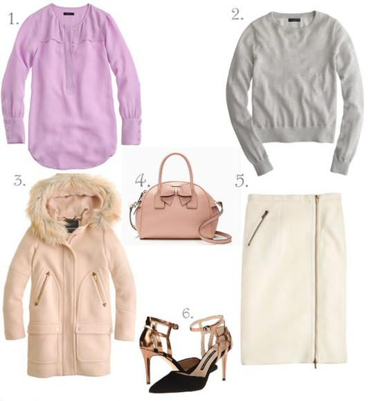 duffle coat bag blogger lilly's style grey sweater outfit baby pink pencil skirt lilac