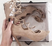 shoes,high heels,cute high heels,lace up,spring,spring shoes,nude sandals,nude heels,nude pumps,kim kardashian nude dress,tan suede lace up sandals