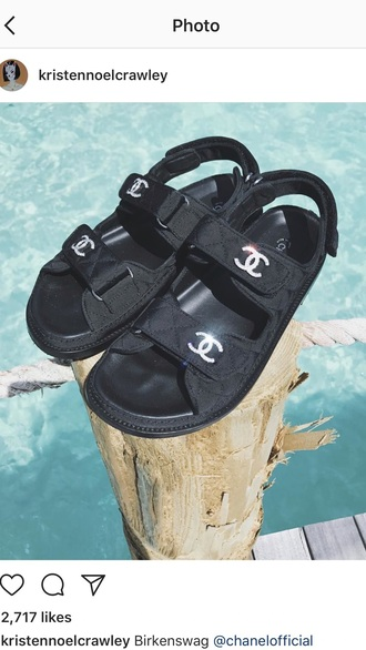 shoes black chanel birkenstocks double strap designer sparkle chanel inspired design brand