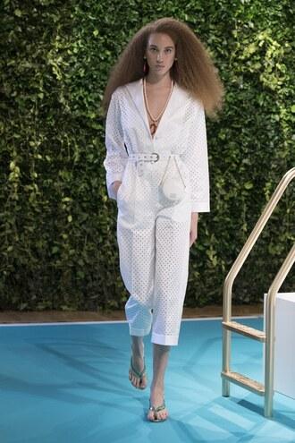 jumpsuit emilio pucci milan fashion week 2017 runway white pants top