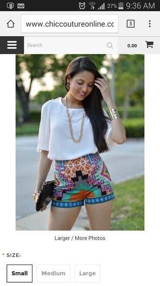 shorts print pants multicoloured multicolor