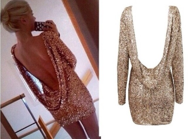 Dress: glitter, gold, sequins, low back - Wheretoget