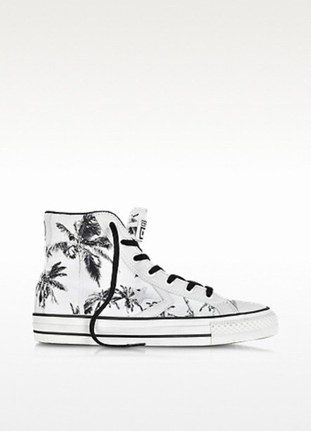 shoes black white palm tree print sneakers high top sneakers