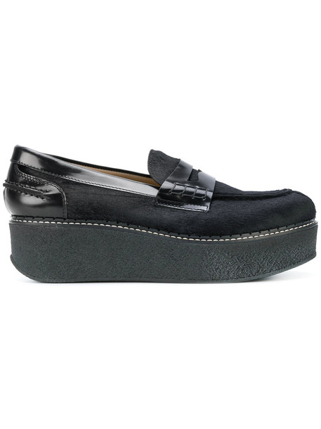 Flamingo's fur women loafers leather black shoes