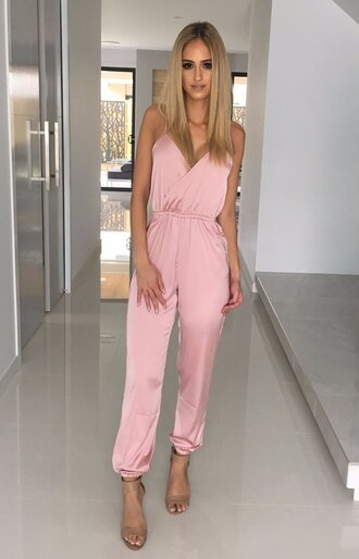jumpsuit silky jumpsuit silk jumpsuit silky pink jumpsuit wrap jumpsuit silky pink romper romper pink romper