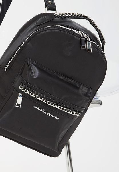 Satin Chain Detail Backpack - Black