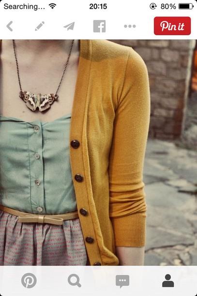 dress top and skirt sweet-heart neck vintage belt pastel