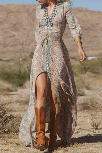 dress gypsy boho style fashion summer maxi dress trendy asymmetrical boots