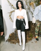 belt,boots,crop tops,top,halsey,nyfw 2017,ny fashion week 2017,shoes