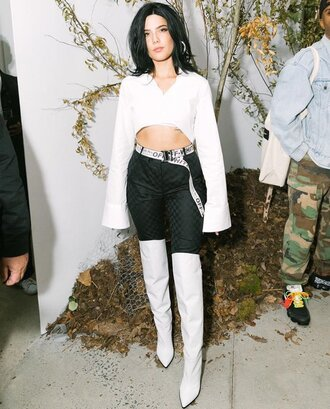 belt boots crop tops top halsey nyfw 2017 ny fashion week 2017 shoes