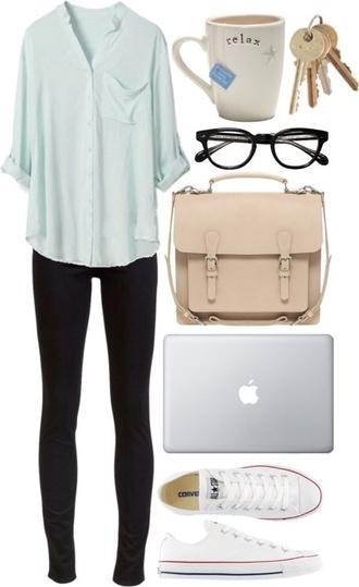 bag cream messenger bag girly blouse shirt classy top clothes loose chill cozy hipster blue shirt pockets