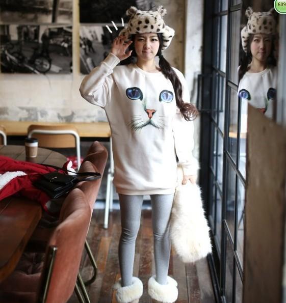 Xyzgirl cat print cotton 100% plus velvet sweatshirt pullover sweater women fashion cross sweater female basic pullover sweater-inHoodies & Sweatshirts from Apparel & Accessories on Aliexpress.com