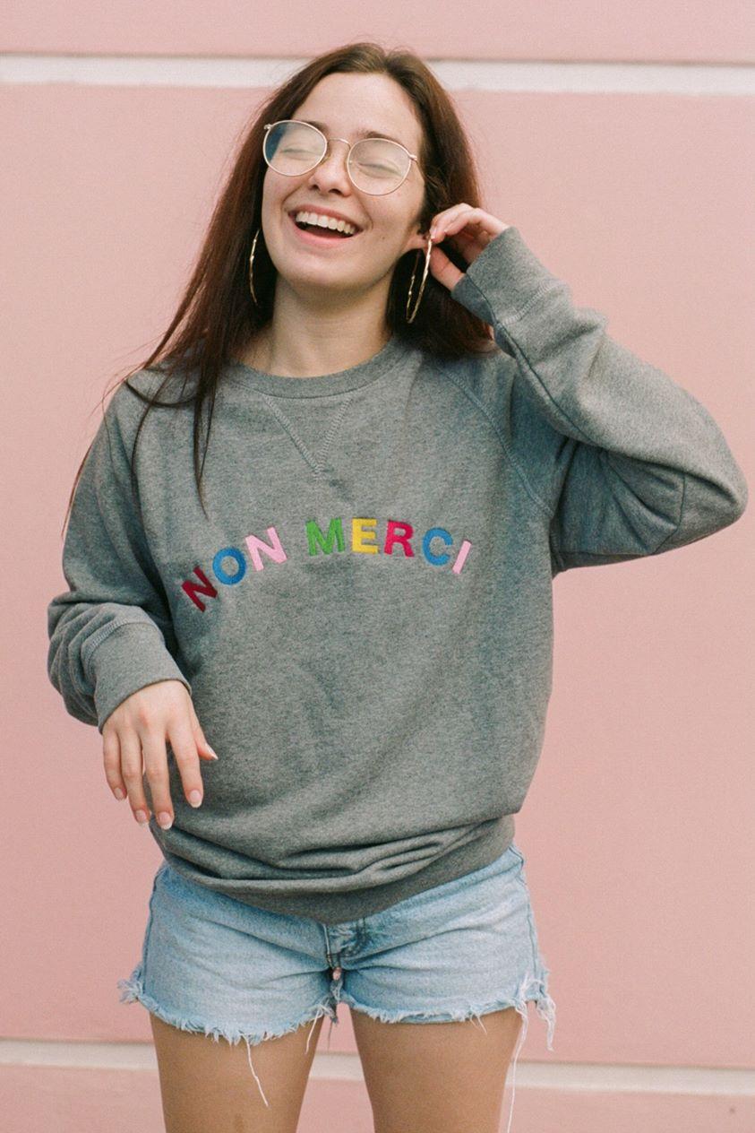 O&F Non Merci Embroidered Sweatshirt