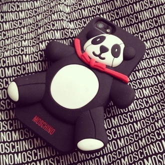 phone cover panda iphone 4 case lovely cute 3d moschino black red silicon