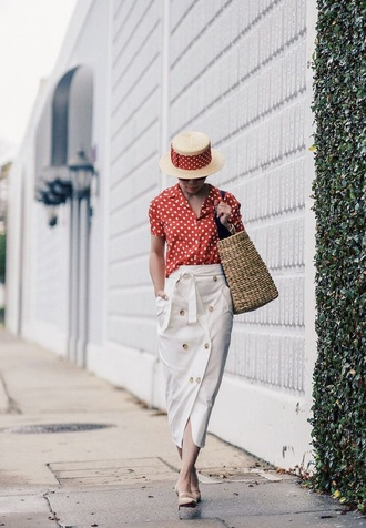 hat straw hat white skirt top red top shoes bag sunglasses skirt midi skirt button up polka dots spring outfits