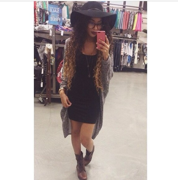 hat black hat black bowler hat long knit cardigan