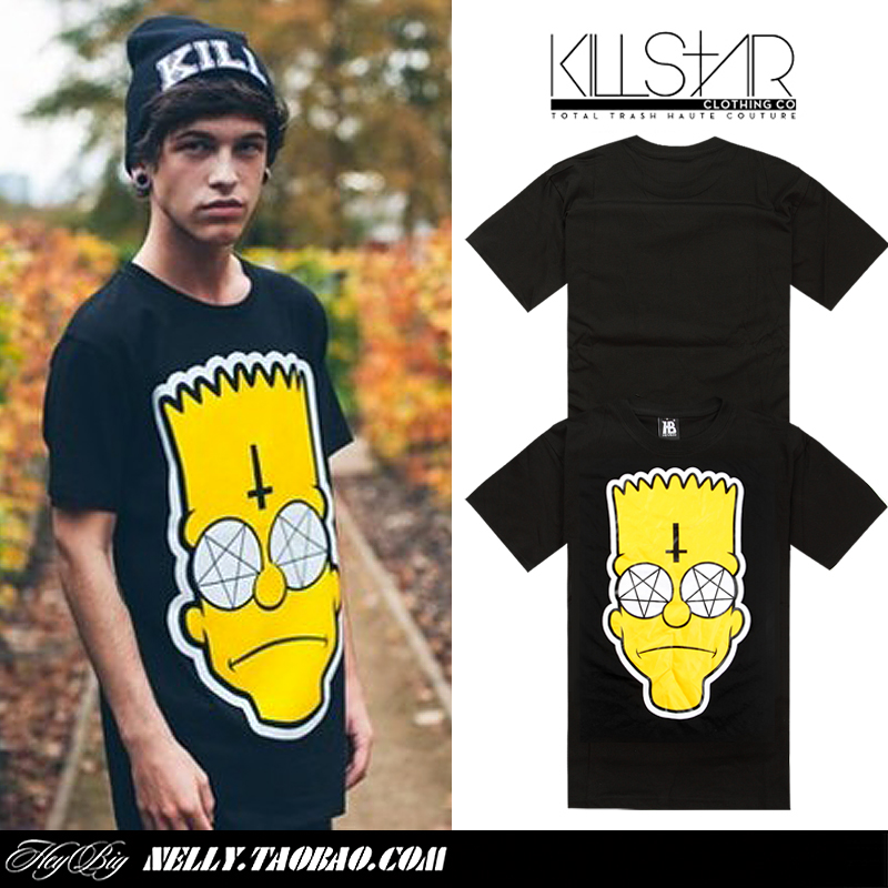 MINI NELLY  2014 NEW! Fashion Simpson Kill star skateboard cross little big head portrait short sleeve T shirt-inT-Shirts from Apparel & Accessories on Aliexpress.com