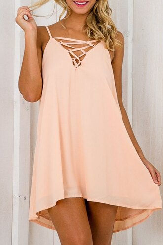 dress coral lace up summer flowy spring cute trendy fashion style