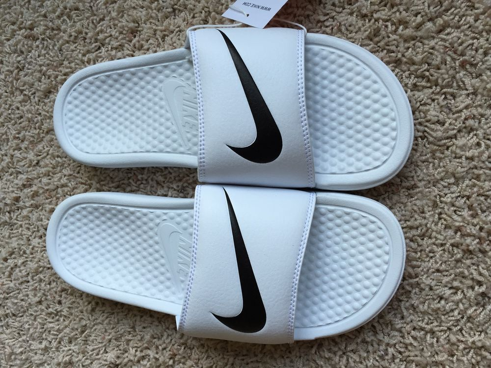 eb35ab007659 Nike Benassi Swoosh Slide Sandals Womens White Black NWT Close ...