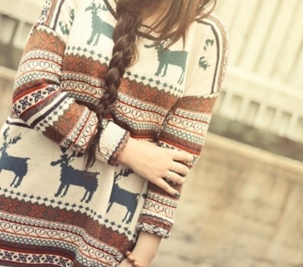 sweater winter outfits lovely :) print warm girly tribal pattern oversized sweater pullover fall outfits christmas moose moose sweater hipster cardigan christmas sweater winter sweater pattern