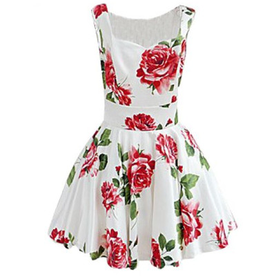 Womens White Sleeveless Bandeau Floral Tank Dress