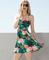 Tropical floral cutout dress