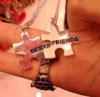jewels jewelry necklace puzzle bff bestfriend necklace besties zilver fashion
