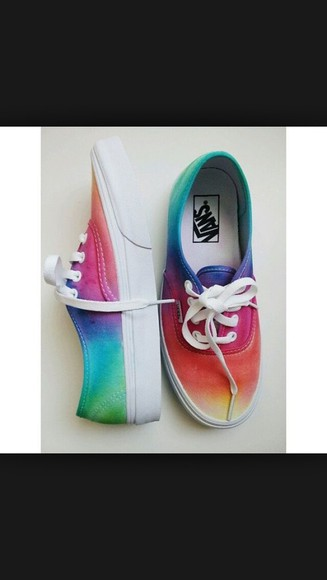rainbow shoes tie dye vans