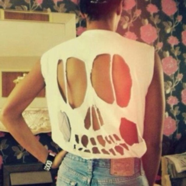Cut White t Shirt Cute T-shirt Skeleton Cut-out White