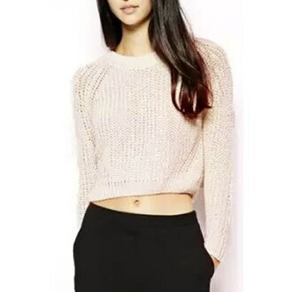sweater white crop cropped knitwear knitted sweater rose wholesale pastel top beige sweater cropped sweater