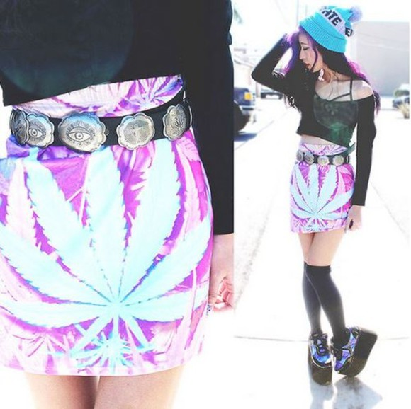 shoes black platforms skirt purple green weed skirt doobie blue festival new short metal weed weed leaf marijuana leaf pot leaf blow music festival music statement molly crop-tops t-shirts silver hat belt belts belt