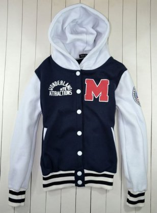 Men Navy White Varsity Baseball Hoodie Jacket - $78.00 : Womens ...