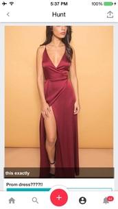 dress,prom dress,long dress,long prom dress,spaghetti strap,burgundy dress,burgundy,sexy dress,sexy prom dress,red dress,slit dress,v neck dress,wrap over dress,prom gown,evening dress,formal dress,American Music Awards,long red prom dress,leg,short sleeve,short sleeve dress,v shaped dress