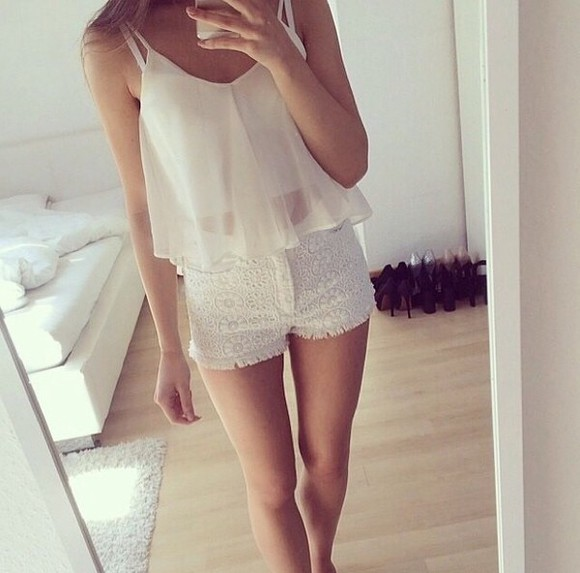 blouse white blouse white top top white shorts girly cute tank top white tank top crop tops denim shorts white shorts summer outfits summer top lace shorts