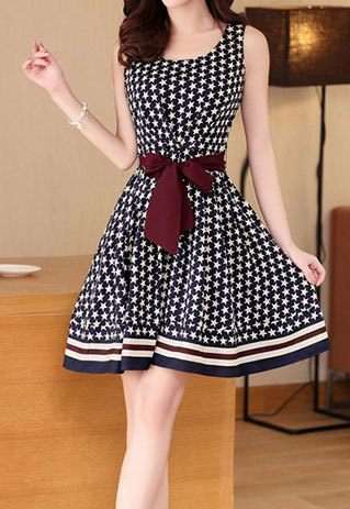 shopbazar shopping mall — [grzxy6601571]Navy Blue Star Stripe Print Belted Crew Neck Tank Dress