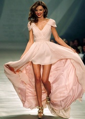 dress,pink dress,prom dress,gown,long back,contoured,half sleeves,silk dress,miranda kerr,mirranda kerr dress,eva brazzi,prom gown,pink prom gown,high low,asymmetrical,long prom dress,long dress,pink,flowy,nude,maxi,long