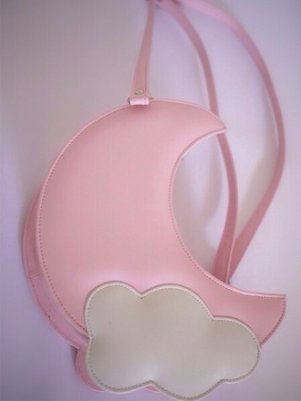 bag moon stars cloud cloudy sky cute pastel pink pastel pink purse kawaii adorable japanese loli lolita sweet lolita cutie kawaii bag