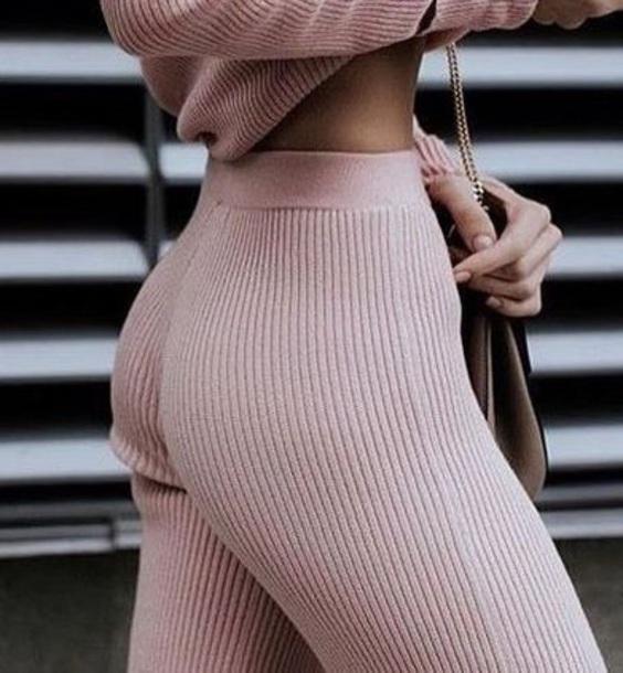 pants pink stretch pink pants pastel ribbed sweatpants ribbed